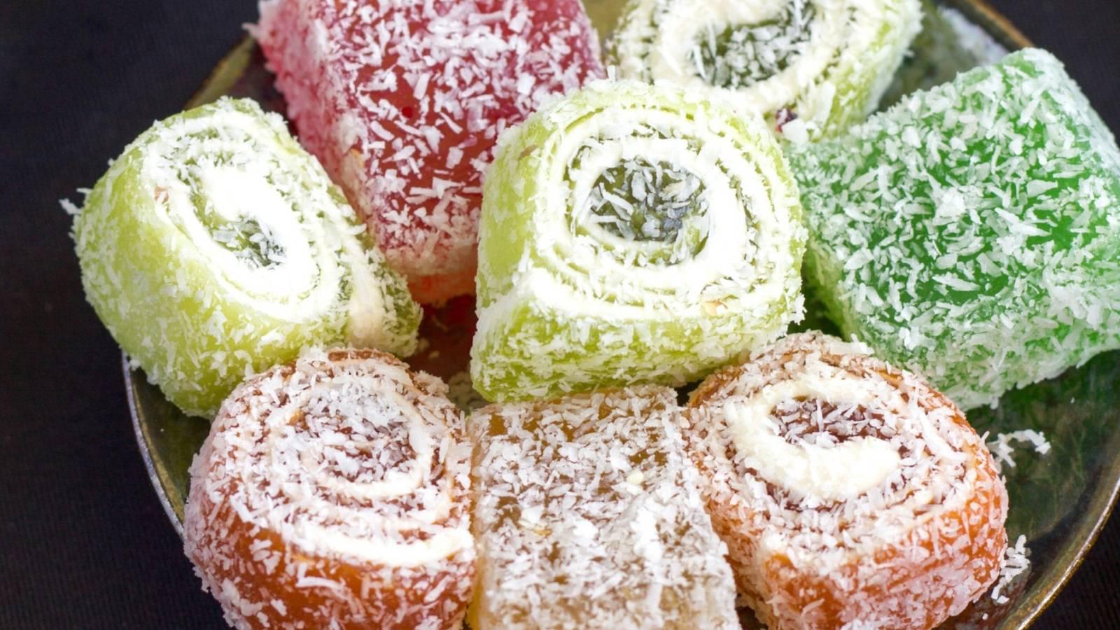 Рахат лукум: сколько калорий в 1 шт, польза и состав из чего его делают