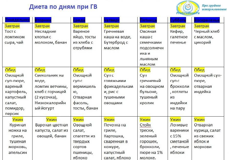 Диета при грудном вскармливании, рацион питания кормящей матери новорожденного, таблица по месяцам - medside.ru