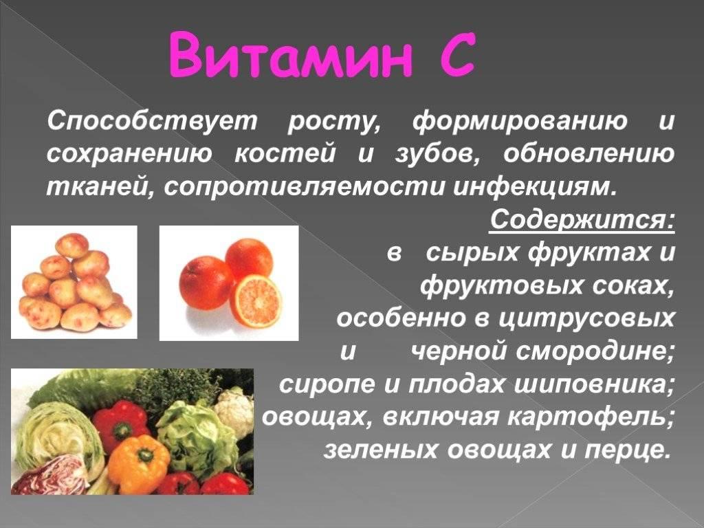Продукты питания с большим содержанием витамина с
