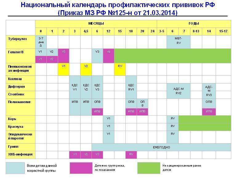 Календарь прививок для детей: когда и какие прививки делать